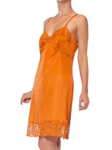 1960S Burnt Orange Nylon Tricot Jersey Lace Trimmed Slip Dress