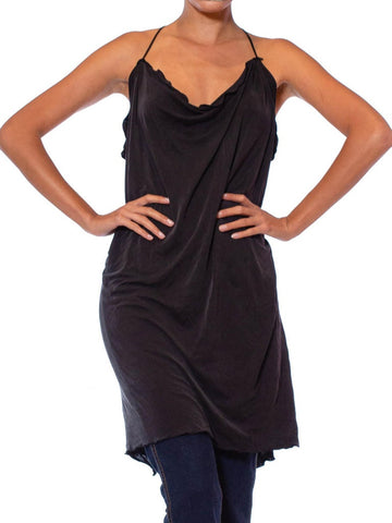 1990S Black Washed Silk Jersey Draped Camisole