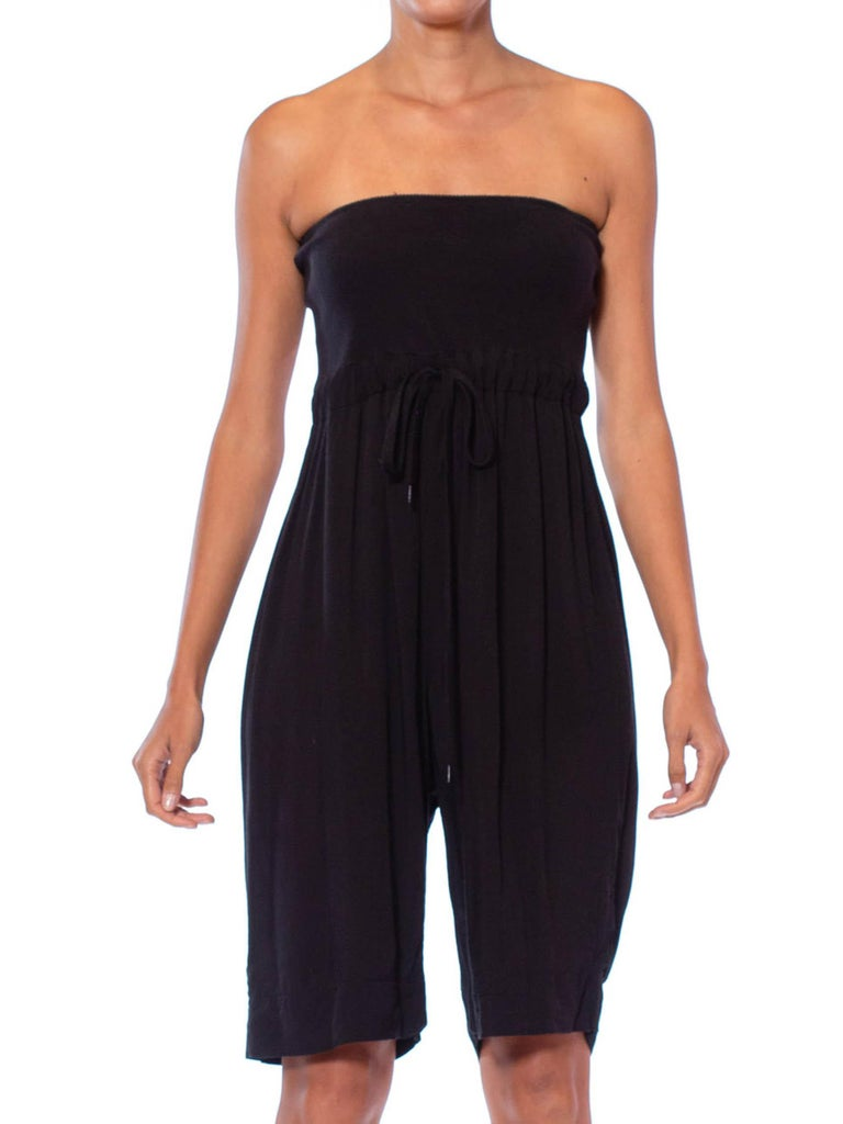 2000S Black Strapless Viscose & Cotton Romper