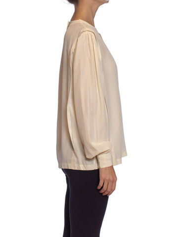 1980S Cream Silk Crepe De Chine Hand Finished Blouse
