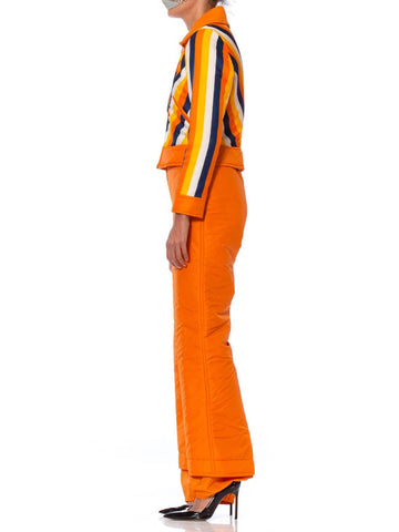 1970S Orange Striped Waterproof Nylon Detachable Jacket Ski Jumpsuit