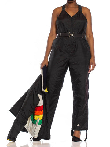 1970S Black & Yellow Nylon Ski Overalls Jumpsuit Jacket