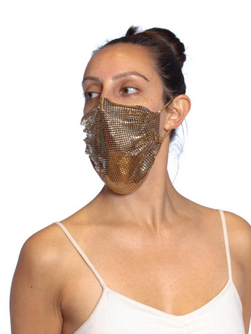 MORPHEW COLLECTION Gold Metal Mesh Scarf Mask