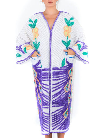 MORPHEW COLLECTION Purple & White Cotton Hand Embroidered Chenille Peacock Beach Coat