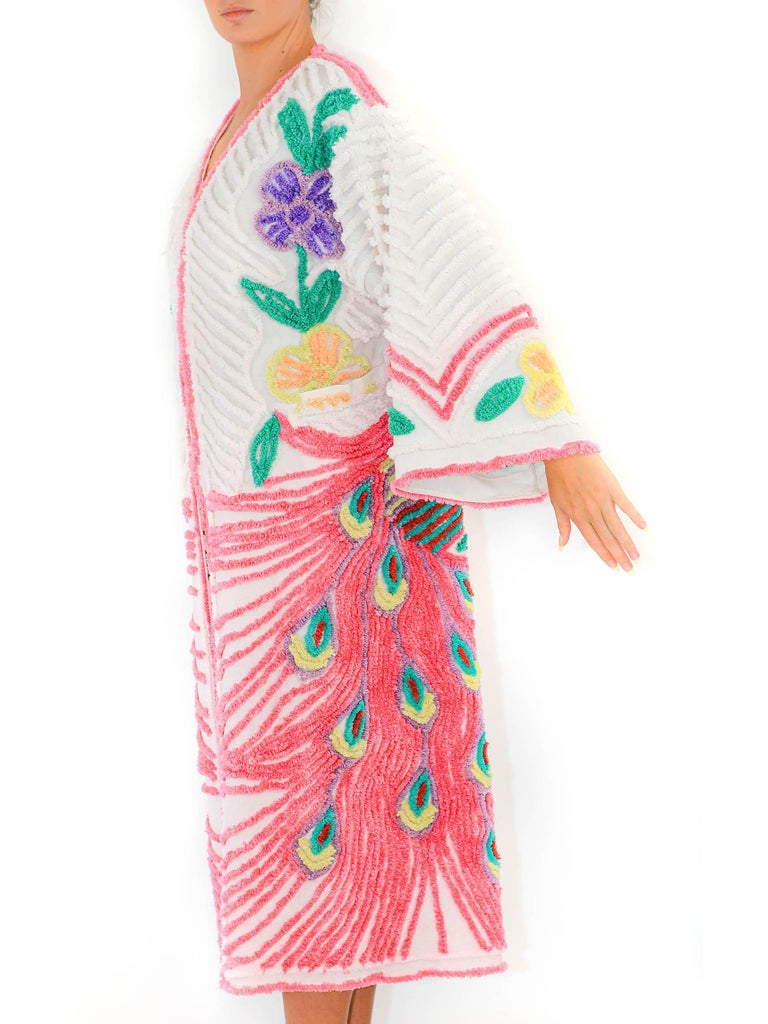 MORPHEW COLLECTION Pink & White Cotton Hand Embroidered Chenille Peacock Beach Coat