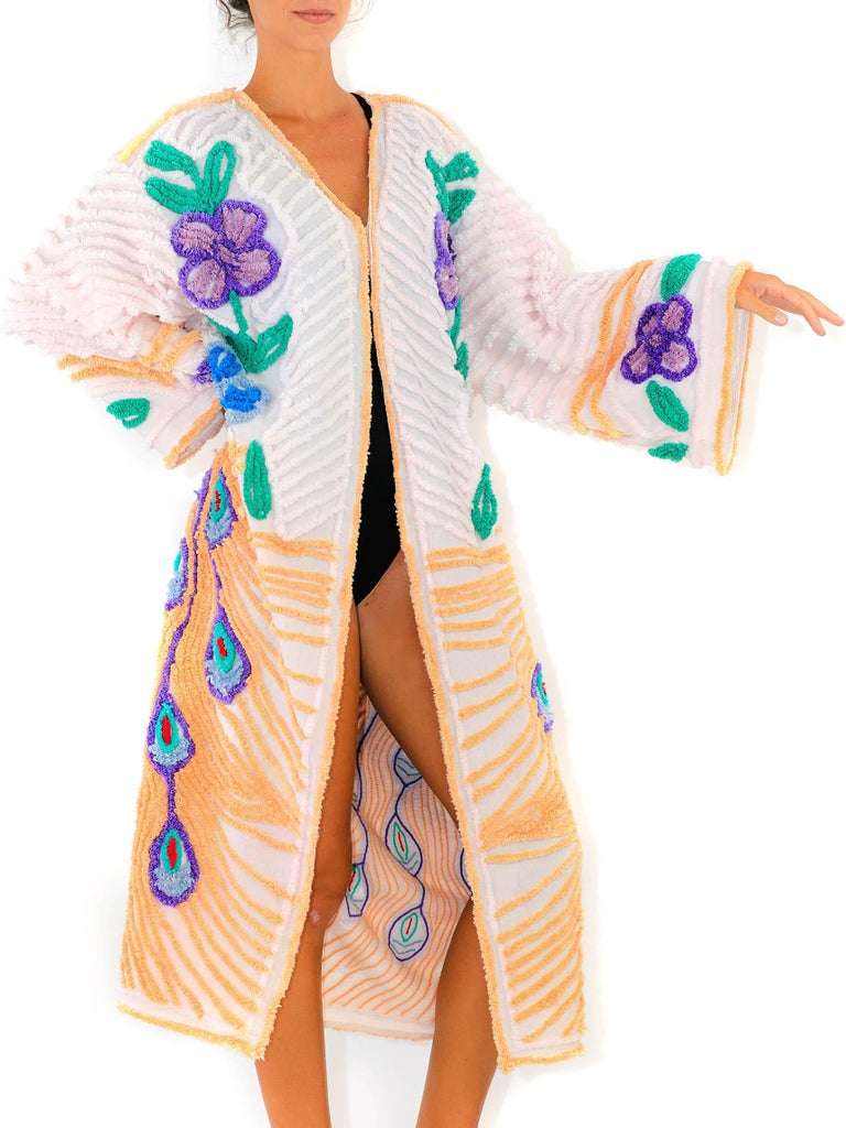 MORPHEW COLLECTION Yellow & White Cotton Hand Embroidered Chenille Peacock Beach Coat