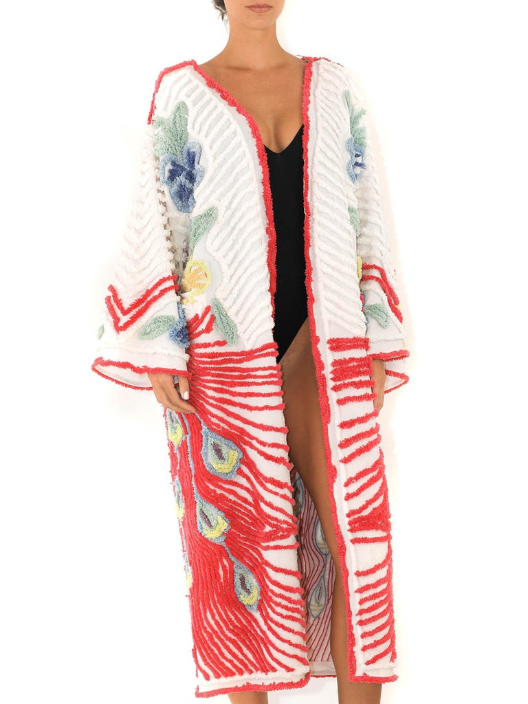 MORPHEW COLLECTION Red & White Cotton Hand Embroidered Chenille Peacock Beach Coat