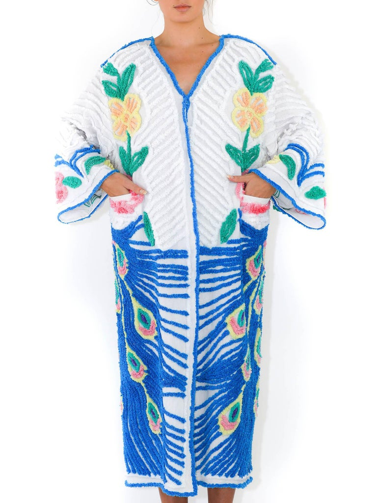 MORPHEW COLLECTION Blue & White Cotton Hand Embroidered Chenille Peacock Beach Coat