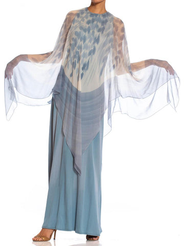 1970S Dusty Blue Ombré Rayon Jersey Gown With Hand Painted Silk Chiffon Cape