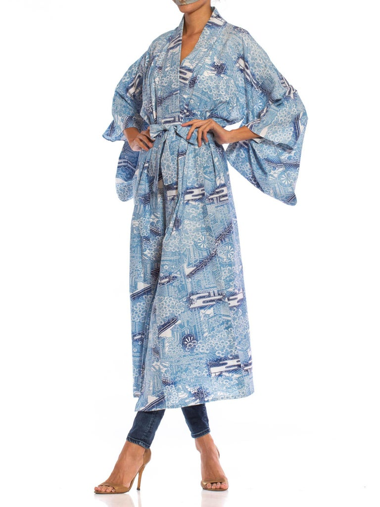 1950S Blue & White Japanese Cotton Lightweight Unlined Kimono