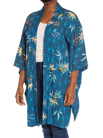 1970S Blue Japanese Silk Jacquard Geometric & Tropical Floral Kimono