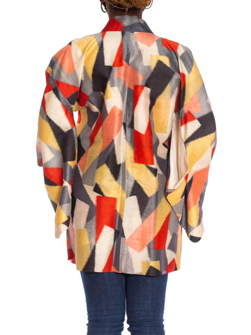 1950S Red, Gold & Grey Japanese Silk Ikat Abstract Geometric Kimono