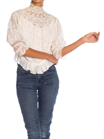 Edwardian Off White Haute Couture Organic Cotton Voile Blouse With Exceptional Hand Embroidered Floral Lace Insertion & Crochet