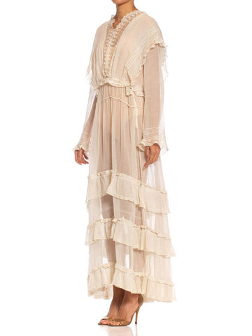 Edwardian Off White Organic Cotton Voile & Lace Long Sleeved Ruffled Tea Dress