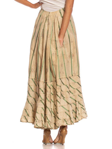 Victorian Off White & Green Silk Ikat Shadow Floral Satin Stripe 1890S Skirt From Paris