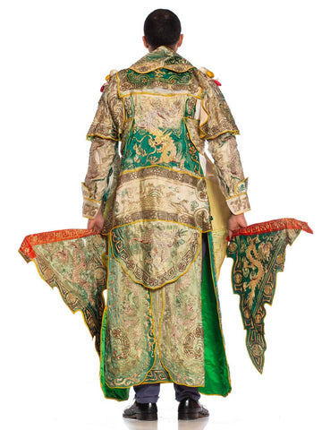 1970S Green Silk Chinese Opera Gold Embroidered Dragon Ensemble