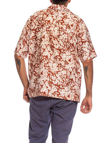 1970S Brown & White Cotton Sateen Mens Tropical Hibiscus Hawaiian Shirt