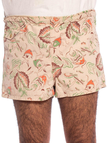 1940S Orange, Brown & Green Tropical Cotton Twill Men's Hawaiian Surfer Fish Print Swim Shorts