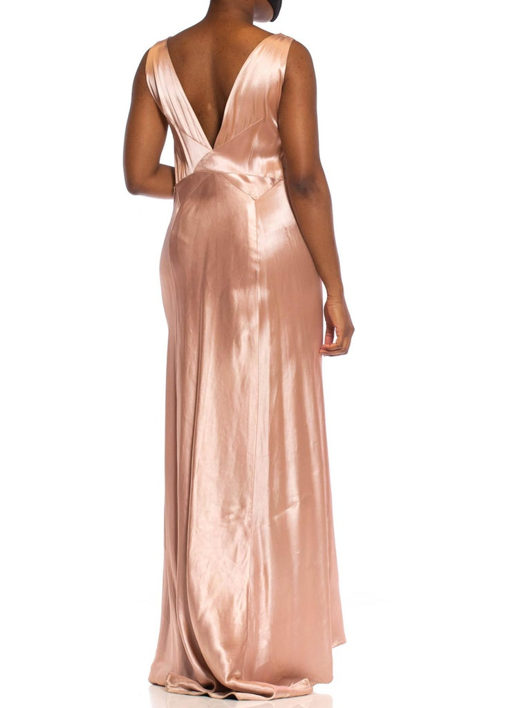 1930S Pink Bias Cut Silk Double Faced Satin Gown With Slight Train
