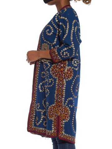 "1970S Blue Wool Central Eurasian Coat Hand Embroidered All Over With Metal ""Coins"""