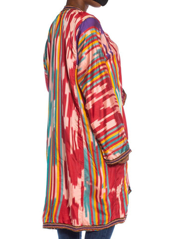 1970S Cranberry Red Yellow & Teal Rayon Silk Ikat Duster With Cotton Braid Trim