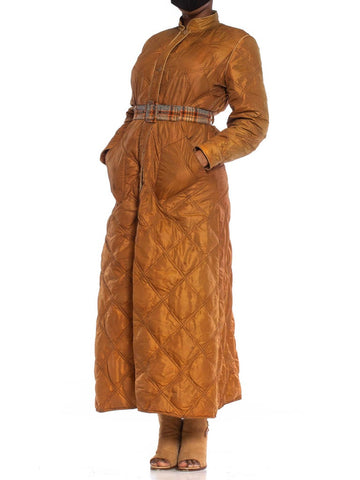 1970S Caramel Brown Nylon Quilted Down Filled Long Coat