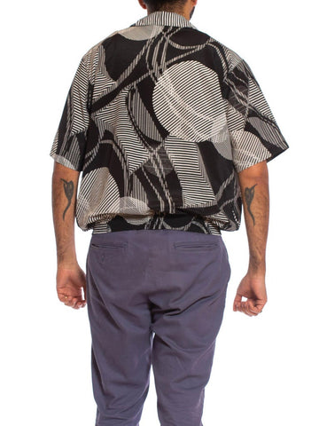 1980S Black & White Geometric Polyester Short Sleeve Pullover Shirt
