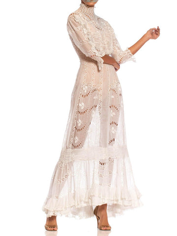 Edwardian White Sheer Organic Cotton Voile Exceptionally Hand Embroidered Princess Line Tea Dress