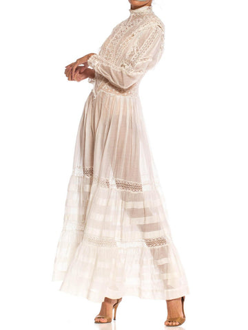 Edwardian White Cotton Voile & Lace Swan Neck Ruffled Long Sleeve Tea Dress