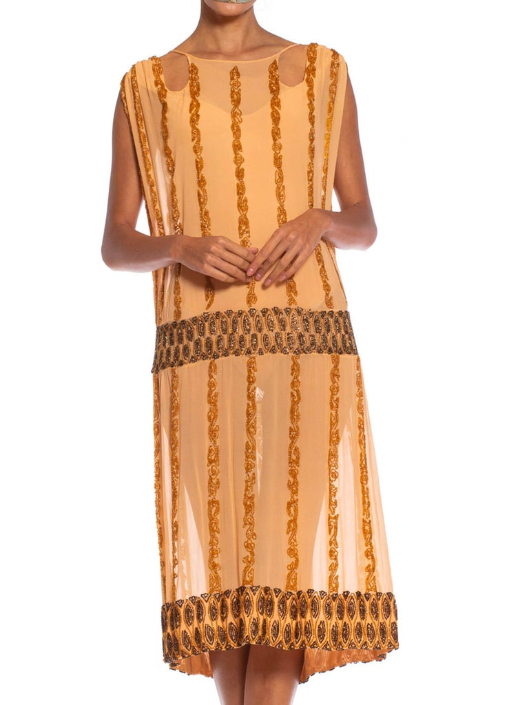 1920S Peach Silk Chiffon Beaded In Amber & Metallic Brown Cocktail Dress With Cut Out Neckline