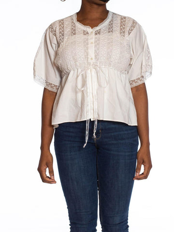 Edwardian White Hand Embroidered Organic Cotton & Lace Drawstring Waist Top
