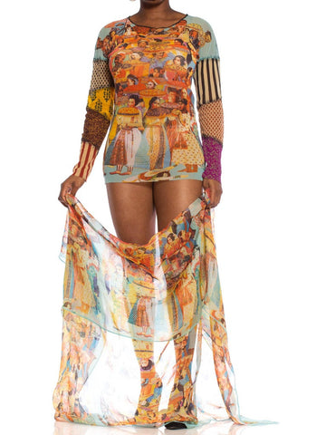 1990S JEAN PAUL GAULTIER Poly Blend Mesh Multicultural Patchwork Shirt & Silk Wrap Skirt Ensemble