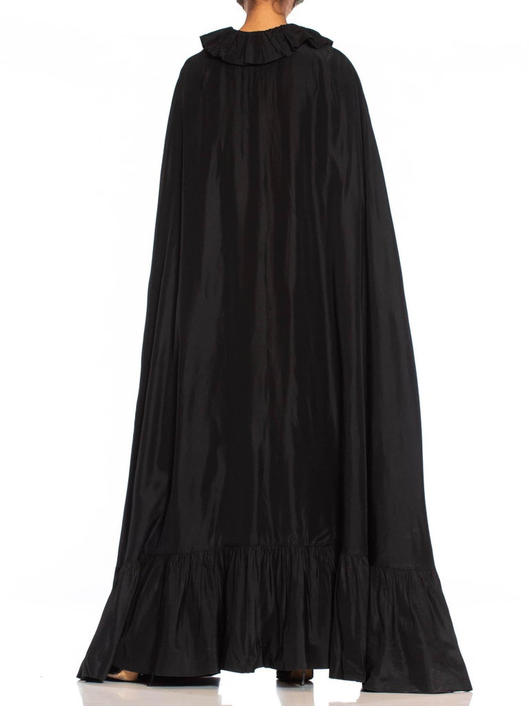 1960S BALENCIAGA Style Black Silk & Rayon Taffeta Dramatic Floor Length Evening Cape