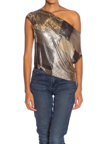 MORPHEW COLLECTION Gunmetal Patchwork Metal Mesh Top