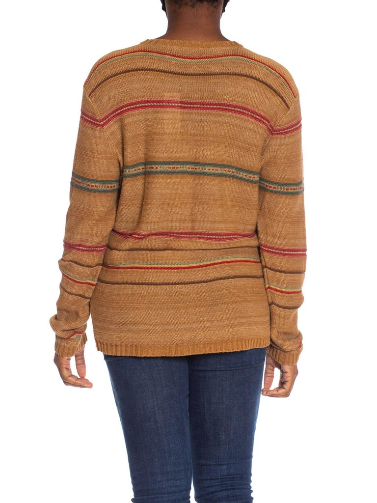 1990S POLO RALPH LAUREN Caramel Brown Linen Blend Knit Serape Stripe Sweater