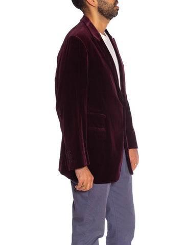 2000S GIORGIO ARMANI Burgundy Cotton Velvet Peak Lapel Two Button Ticket Pocket Blazer