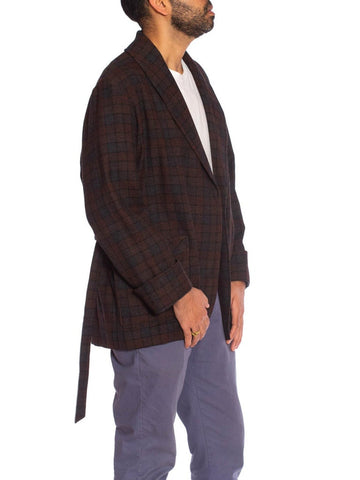 1920S Brown & Grey Wool Plaid Men's At Home Smoking Jacket