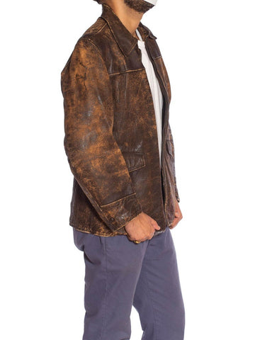 1940S Brown Leather Distressed Zipper Front Jacket