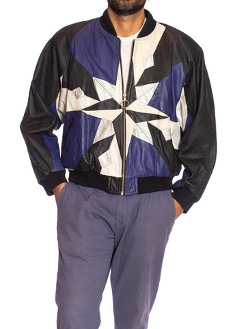 1980S Black & Blue With Silver Leather Star Patchwork Jacket