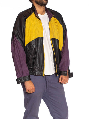 1990S Black Leather Men's Bomber Jacket With Yellow, Purple & Red Silk Color Blocking
