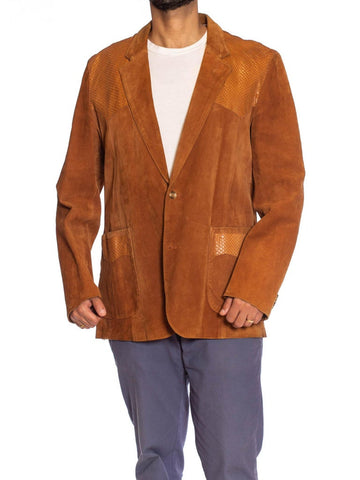 1970S Caramel Brown Suede Western Styled Men's Leather Blazer With Snakeskin Details