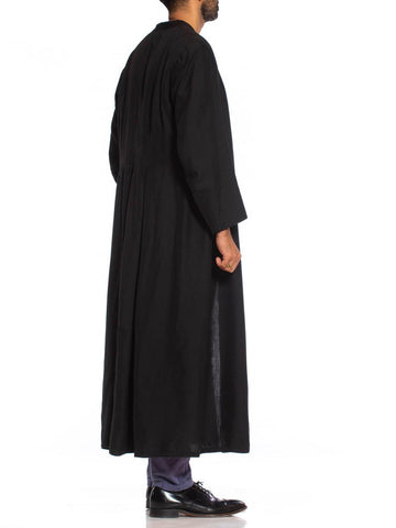 1950S Black Wool Gothic Men's Priest Roman Cassock Coat