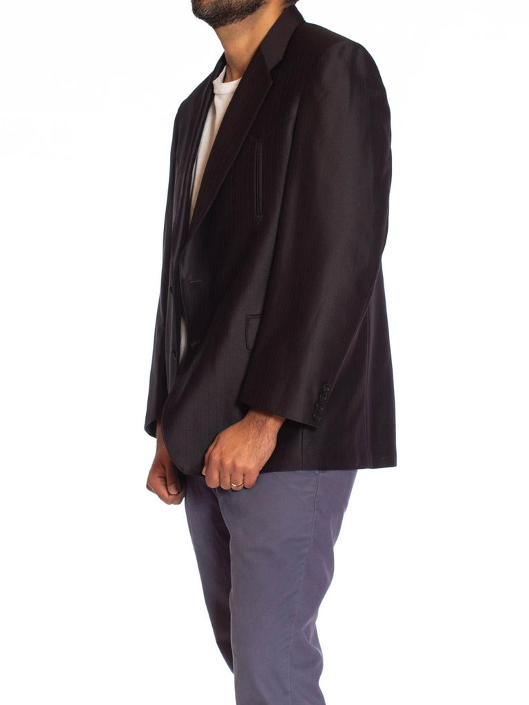 1970S Black Shiny Polyester Sharp Fitted Men's Western Blazer