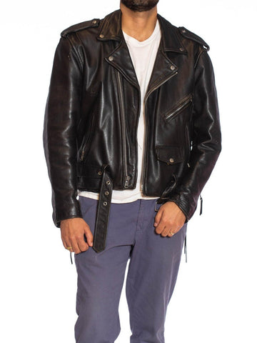 1980S Black Leather Classic Men's Brando Biker Jacket