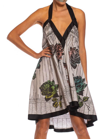MORPHEW COLLECTION Grey & Black Cotton 1950S Rose Printed Trapeze Dress
