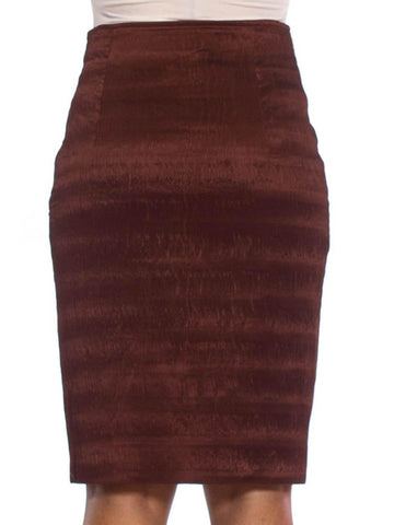 "1980S GENY Russet Brown Silk & Acetate Heat Set Micro ""Mushroom"" Pleated Skirt"