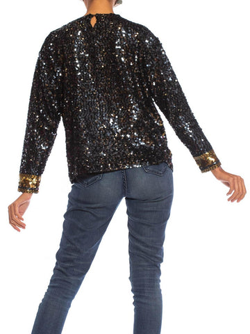 1980S Black & Gold Hand Beaded Silk Rayon Long Sleeve Shell Top