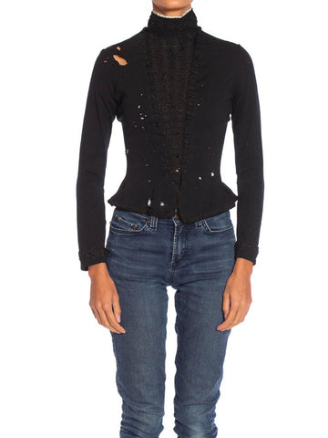 Victorian Black Wool Blend Knit Beautifully Tattered & Embroidered 1880S Top From Paris