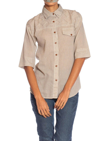 1980S Beige & White Cotton Blend Shirt With Cool Pleated Shoulders