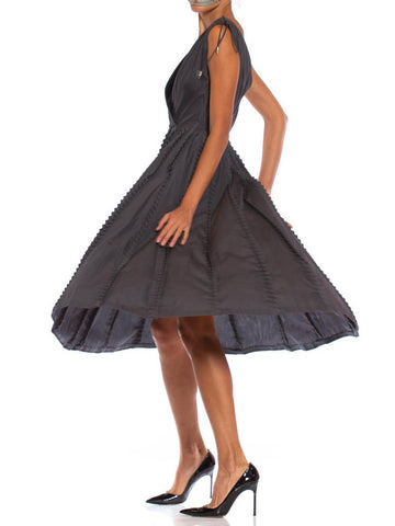 1950S Dark Grey Cotton Fit & Flare Dress With Unique Pleated Ruffles
